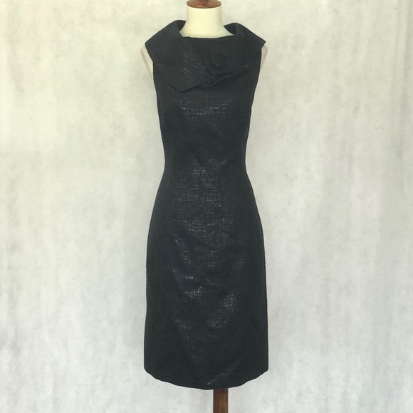 Tahari Dresses & Skirts - Tahari Sleeveless Black Jaquard Retro Collar Dress